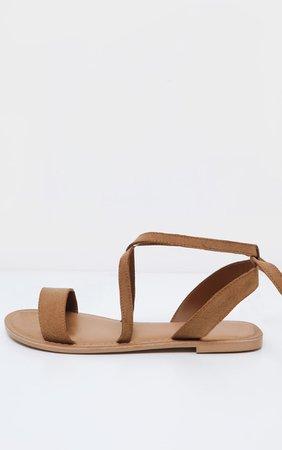 Tan Basic Leather Sandal | Shoes | PrettyLittleThing