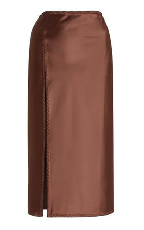 Vlada Slit Satin Midi Skirt By Anna October | Moda Operandi