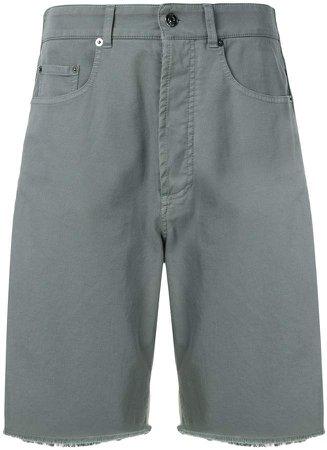 Wide-Leg Denim Bermuda Shorts