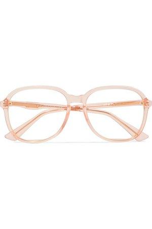 Gucci | Square-frame acetate and gold-tone optical glasses | NET-A-PORTER.COM