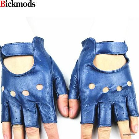 blue and blue leather fingerless gloves - Google Search