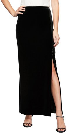 Side Slit Velvet Skirt