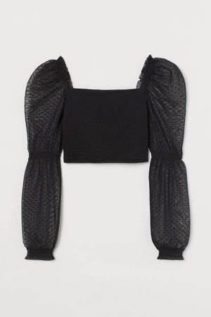 Mesh-sleeved Smocked Top - Black