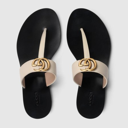 Leather thong sandal with Double G - Gucci Women's Slides & Thongs 497444A3N009022