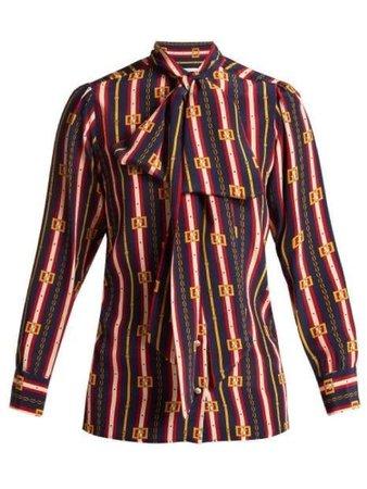 Gucci Women's Red Brown Gold Green Brocade Chain Design Shirt
