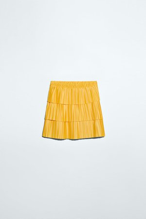 PLEATED MINI SKIRT | ZARA United States yellow