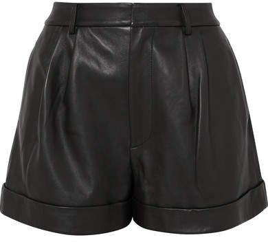 Alice Olivia - Conry Leather Shorts - Black
