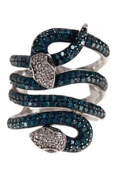 Blue Diamond Layered Snake Ring