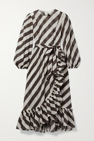 Lulu Belted Asymmetric Ruffled Striped Cotton-voile Dress - Brown