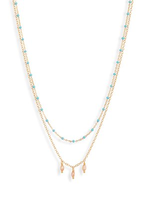 Chan Luu Enameled Bead & Cultured Pearl Double Strand Necklace | Nordstrom