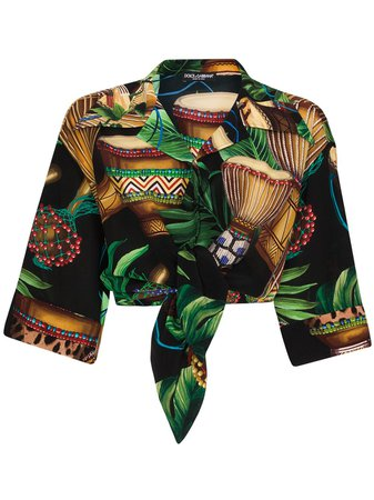 Dolce & Gabbana Cropped leaf-print Shirt - Farfetch
