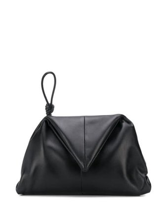 Bottega Veneta Triangular Flap Angular Clutch 622712VCP30 Black | Farfetch