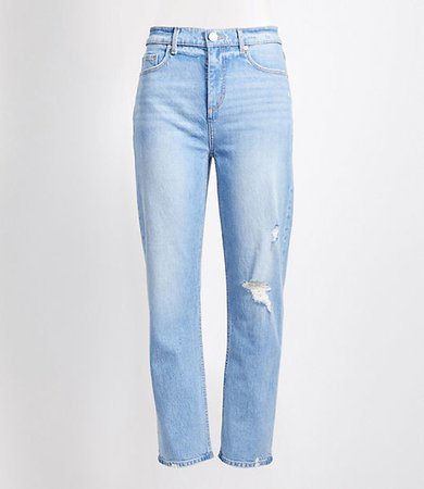 Plus Destructed High Rise Straight Crop Jeans
