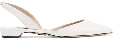 Rhea Patent-leather Point-toe Flats - White