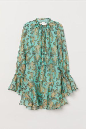 Lyocell-blend Dress - Turquoise/patterned - Ladies | H&M US