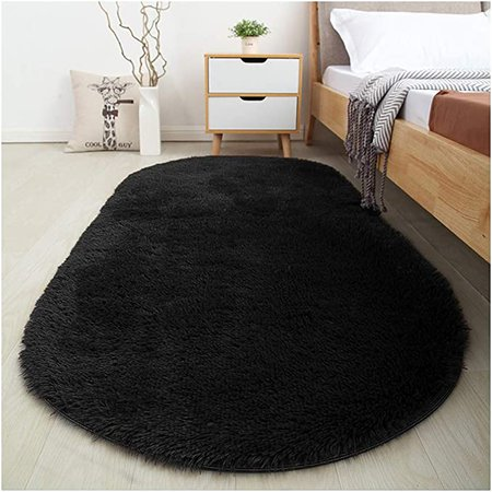 Amazon.com: Softlife Fluffy Area Rugs for Bedroom 2.6' x 5.3' Oval Shaggy Floor Carpet Cute Rug for Boys Kids Room Living Room Home Decor, Black: Home & Kitchen