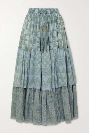 Tiered Printed Cotton-voile Maxi Skirt - Green