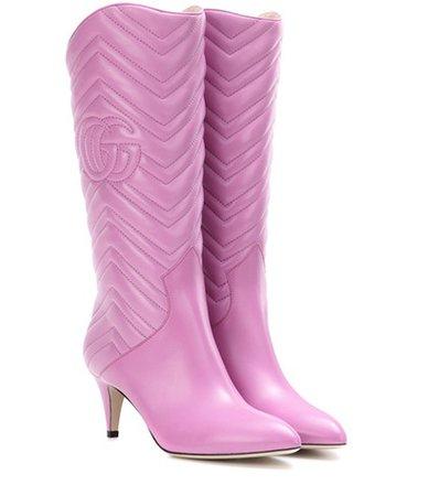 Matelassé leather boots