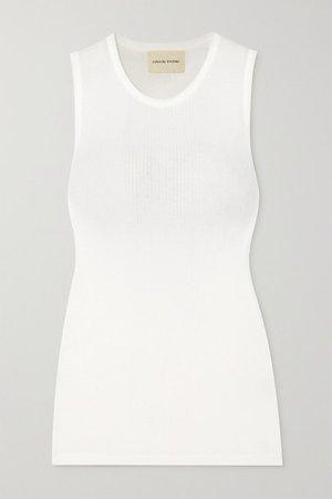 Fatu Ribbed Cotton Tank - White