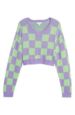BP. Checkerboard Crop Sweater | Nordstrom