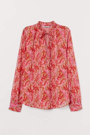Pleated-collar Blouse - Pink