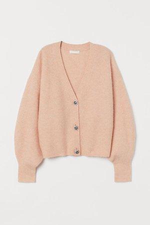 Rhinestone-button Cardigan - Light apricot - Ladies | H&M US