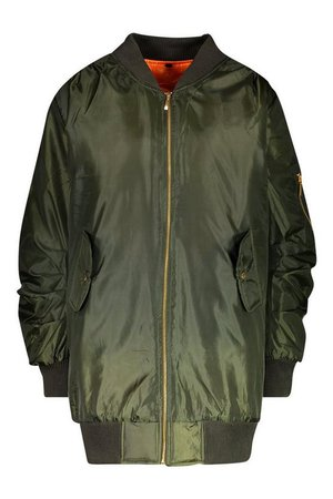 Longline Oversized Bomber Jacket | Boohoo