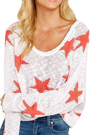 COCOLEGGINGS Women's Boat V Neck Long Sleeve Star Pullover Sweater Tunic Tops at Amazon Women's Clothing store