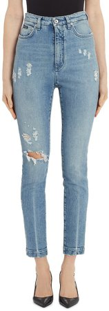 Logo Patch Ripped Skinny Jeans