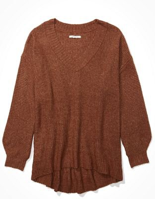 AE Oversized Dreamspun V-Neck Sweater brown