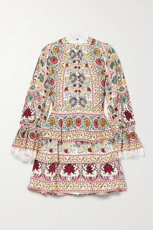 Alice Olivia - Lawson Tiered Lace-trimmed Floral-print Crepe Mini Dress - Cream