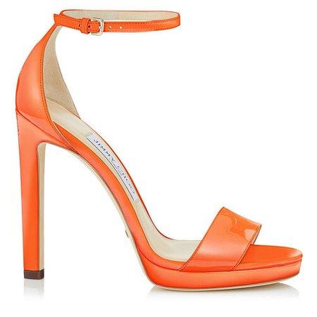 Misty 120 Platform Sandals in Orange Patent Leather