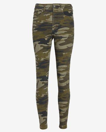 High Waisted Camo Five Pocket Skinny Pant | Express