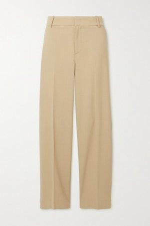 Wool-blend Twill Straight-leg Pants - Sand