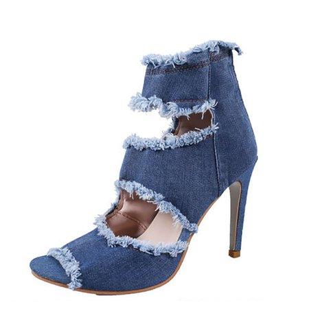 Blue Summer Zipper Denim Peep Toe Heel - StyleWe.com