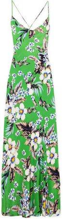 Floral-print Silk Crepe De Chine Maxi Dress - Green