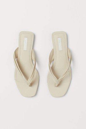 Leather Slides - Beige