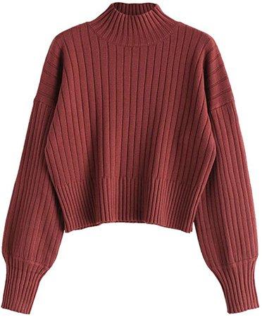 ZAFUL Women's Mock Turtleneck Sweater Drop Shoulder Long Sleeve Basic Sweater Cherry Red at Amazon Women's Clothing store