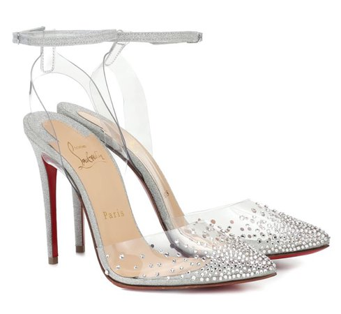 CHRISTIAN LOUBOUTIN Silver Spikastrass 100 Heels
