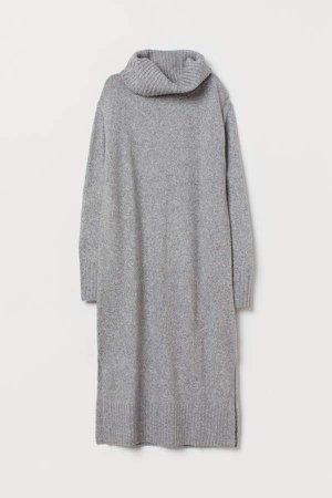 Knit Cowl-neck Dress - Gray