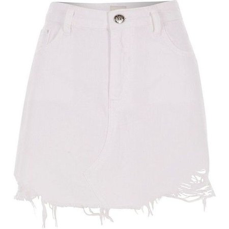 Denim Skirt White