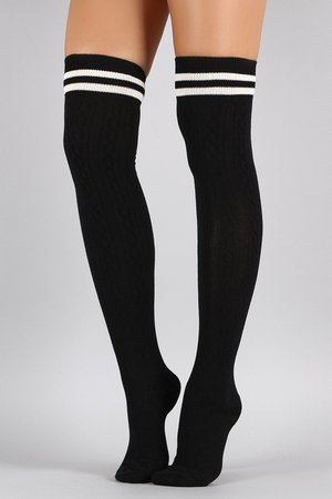 Double Stripe Textured Thigh High Socks