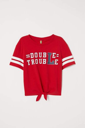 Tie-hem T-shirt - Red