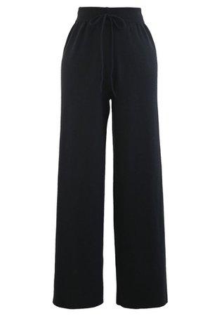 Straight Leg Drawstring Waist Knit Pants in Black - Retro, Indie and Unique Fashion