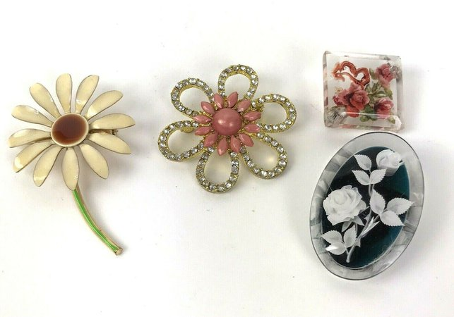 Lot Of 4 Vintage Floral Brooches Metal Plastic Rhinestone Hippy Boho | eBay