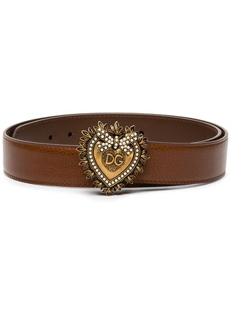 Dolce & Gabbana Devotion Pearl-Embellished Leather Belt BE1315AX059 Brown | Farfetch