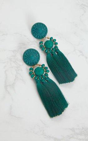 Emerald Green Acrylic Bead Tassel Earring | PrettyLittleThing