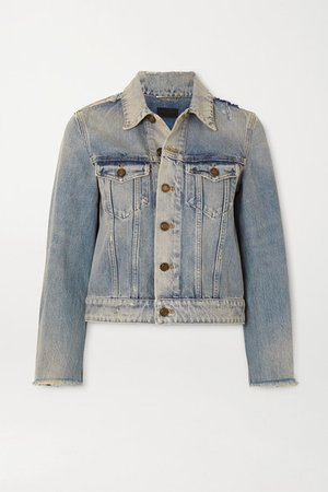 Cropped Distressed Denim Jacket - Blue