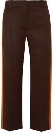 Sies Marjan - Bexley Cropped Striped Wool-twill Straight-leg Pants - Dark brown