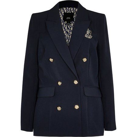 Navy fitted double breasted blazer | River Island